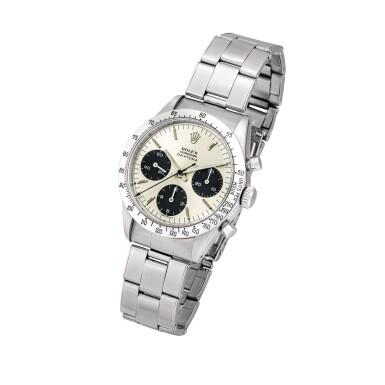 View 2. Thumbnail of Lot 2145. Rolex | Cosmograph Daytona, Reference 6239, A stainless steel chronograph wristwatch with Jumbo logo and bracelet, Circa 1971 | 勞力士 | Cosmograph Daytona 型號6239    精鋼計時鏈帶腕錶,備Jumbo標誌,約1971年製.