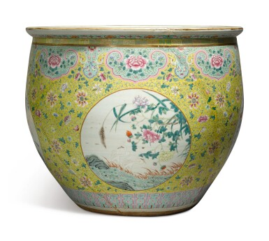 View 2. Thumbnail of Lot 1156. A VERY LARGE YELLOW-GROUND FAMILLE-ROSE FISHBOWL, 19TH / 20TH CENTURY.