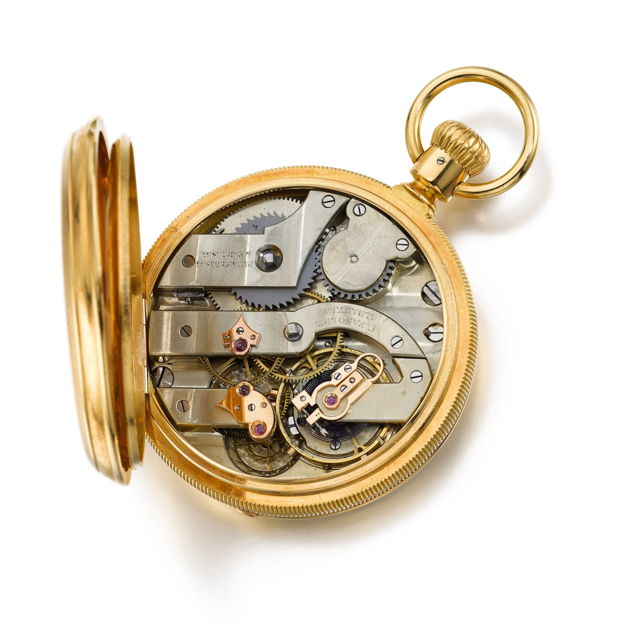 View full screen - View 1 of Lot 15. CHARLES FASOLDT, ALBANY, NY  [Charles Fasoldt,紐約阿伯尼]  |  A VERY RARE AND FINE GOLD OPEN-FACED KEYLESS LEVER POCKET CHRONOMETER WITH DOUBLE WHEEL ESCAPEMENT   CIRCA 1870, CASE NO. 353  [ 極罕有黃金精密計時懷錶備雙齒輪擒縱機芯,年份約1870,錶殼編號353].