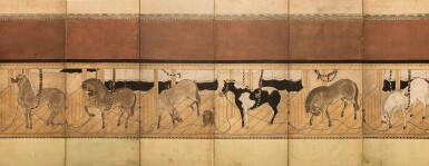 ANONYMOUS, EDO PERIOD, LATE 17TH CENTURY | STABLE WITH HORSES
