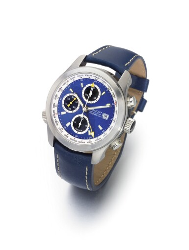 BREMONT | ALTI-WT/BL A STAINLESS STEEL AUTOMATIC WORLD TIME CHRONOGRAPH WRISTWATCH WITH DATE CIRCA 2010