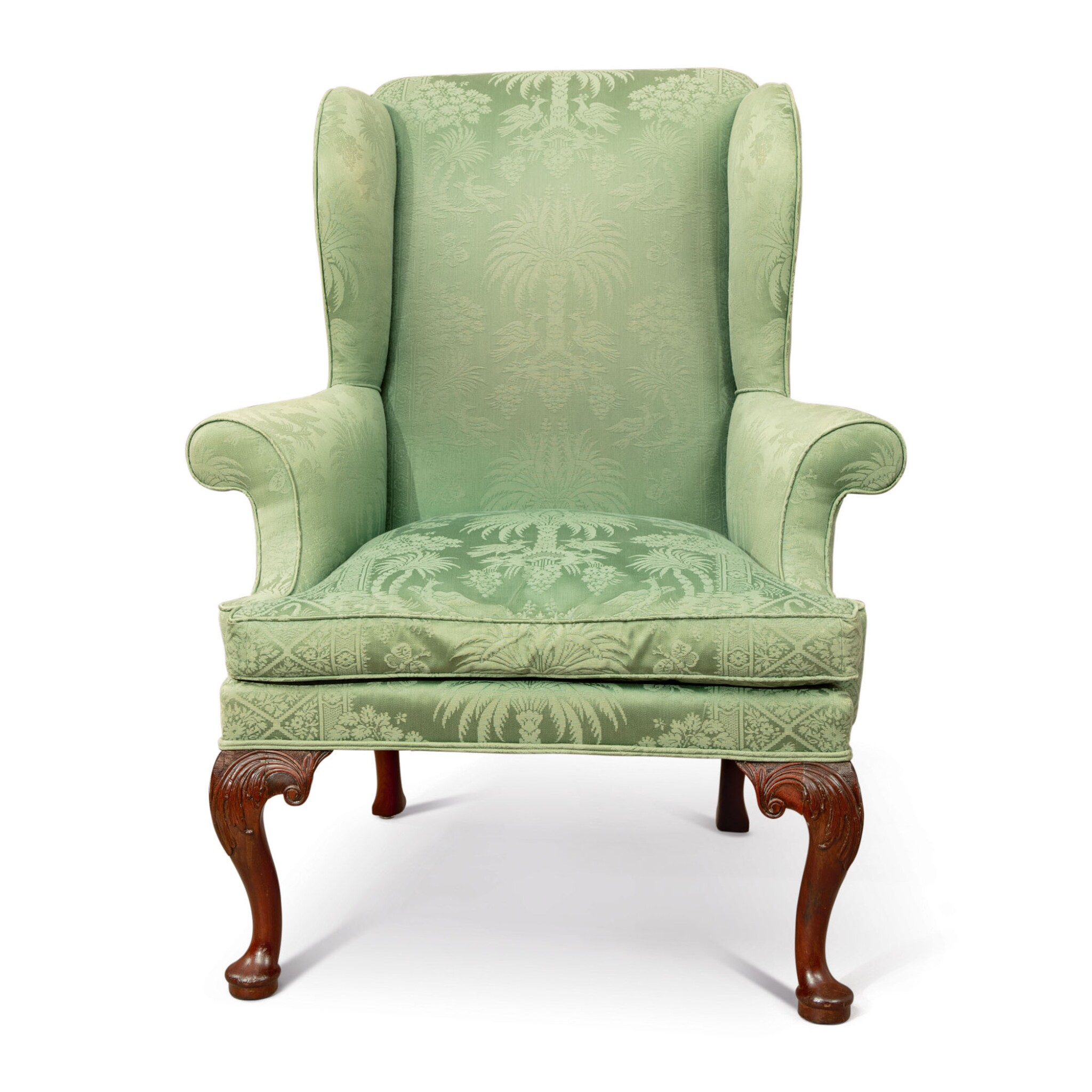 View full screen - View 1 of Lot 502. A GEORGE II WING ARMCHAIR, PROBABLY 18TH CENTURY.