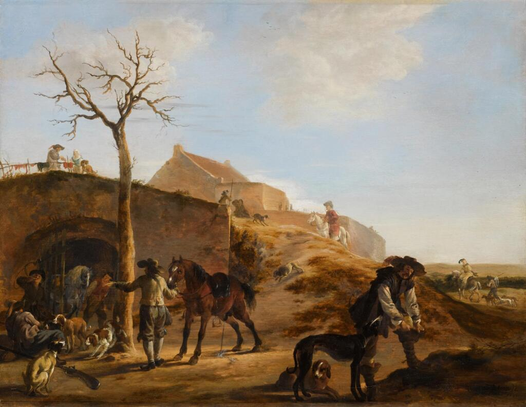 DIRK STOOP | A landscape with sportsmen preparing for the hunt, together with their hounds and horses