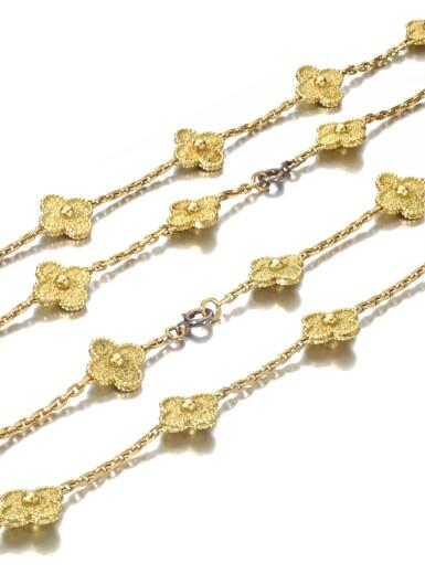 View 3. Thumbnail of Lot 622. Van Cleef & Arpels   Pair of gold sautoirs, 'Alhambra'   梵克雅寶   黃金「Alhambra」黃金長項鏈一對.
