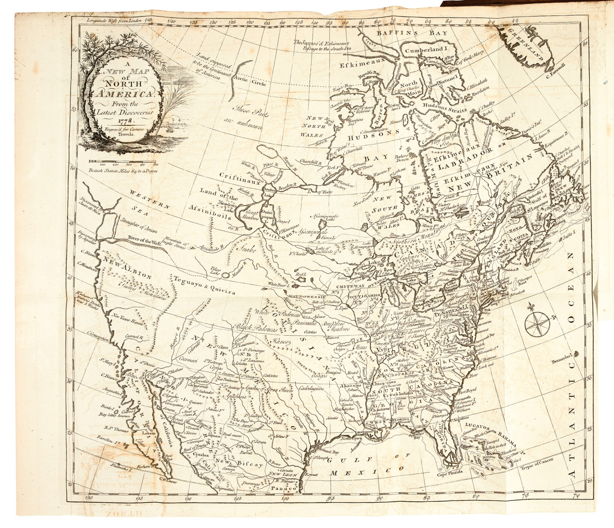 View full screen - View 1 of Lot 111. Carver | Travels through the interior parts of North-America, 1778.