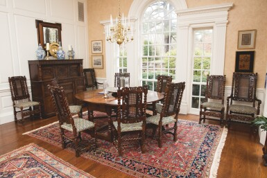 View 4. Thumbnail of Lot 508. AN ASSEMBLED SET OF TEN WILLIAM AND MARY CARVED AND TURNED CANED WALNUT CHAIRS, LATE 17TH CENTURY.