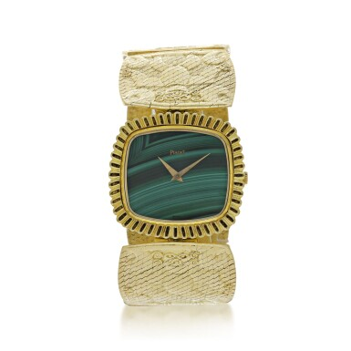 View 1. Thumbnail of Lot 66. PIAGET | REFERENCE 9431 B72 A YELLOW GOLD CUSHION SHAPED BRACELET WATCH WITH MALACHITE DIAL, CIRCA 1971.