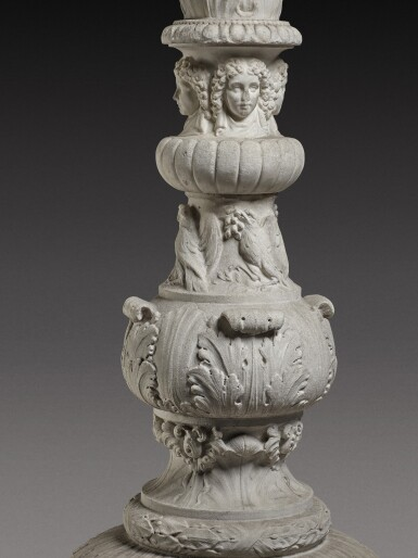 View 5. Thumbnail of Lot 172. An Italian carved white marble candelabrum, Rome, early 19th century.