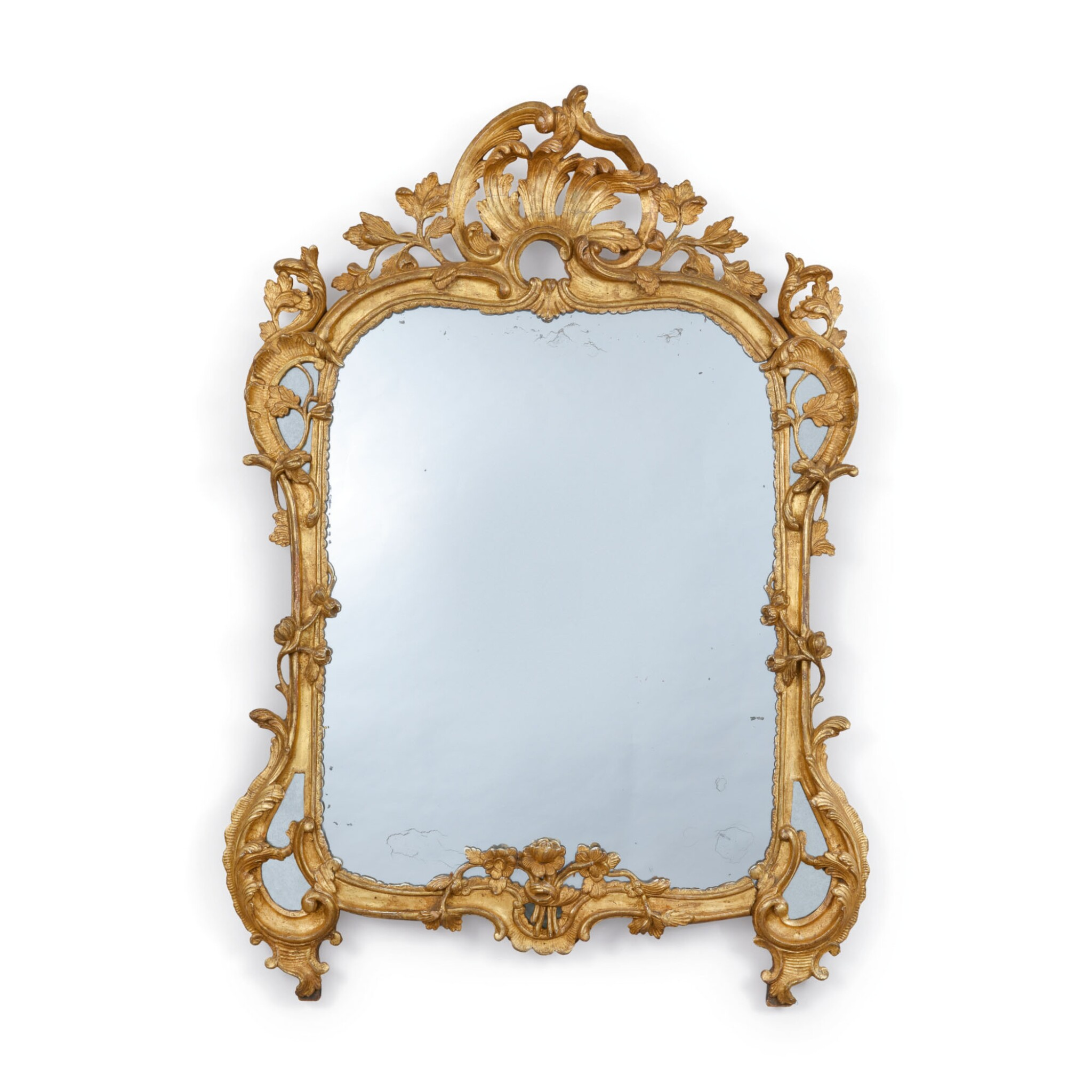 View full screen - View 1 of Lot 722.  A LOUIS XV GILTWOOD MIRROR, MID-18TH CENTURY.