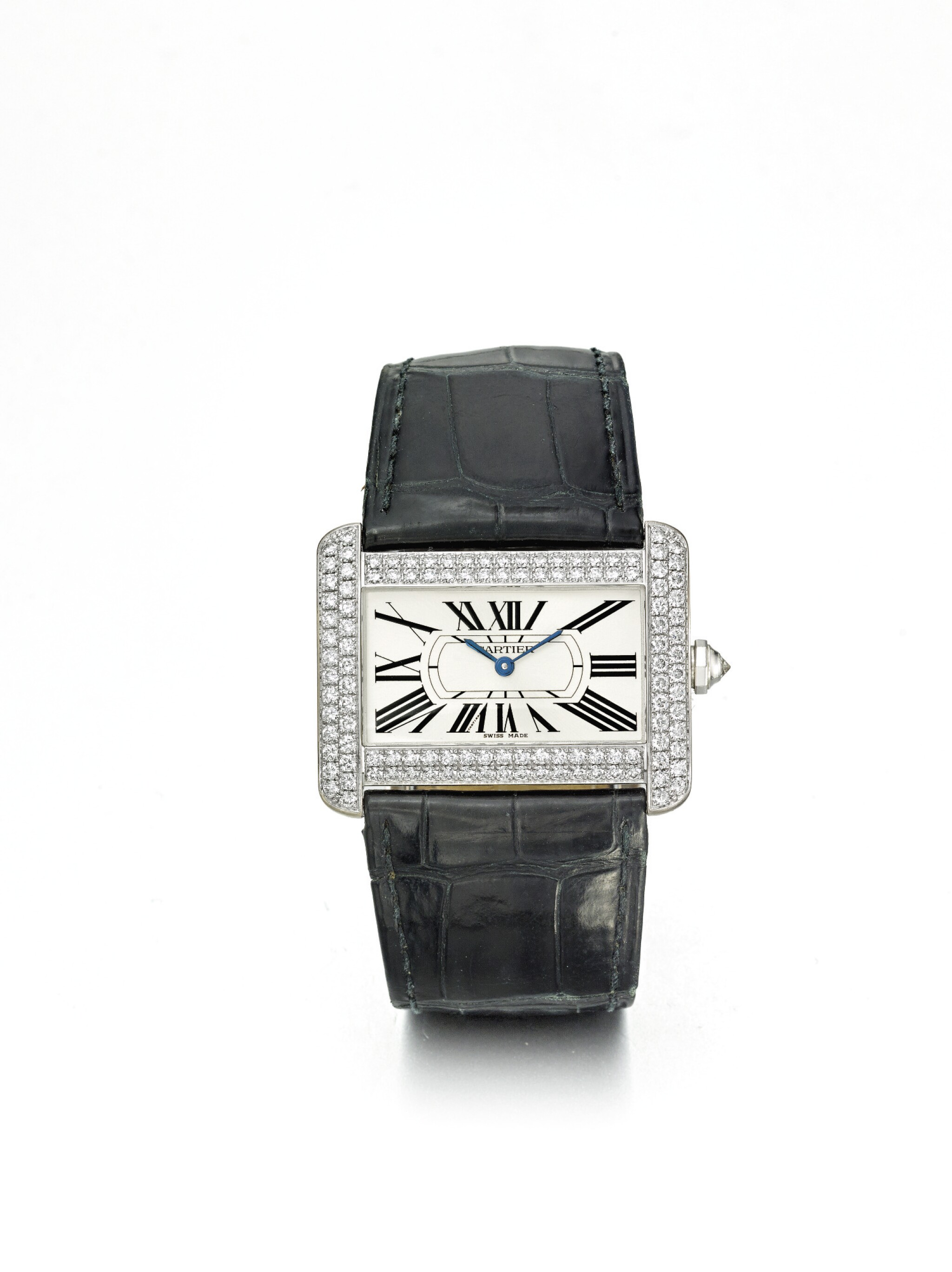 CARTIER | TANK DIVAN REF 2614 A WHITE GOLD AND DIAMOND SET RECTANGULAR WRISTWATCH CIRCA 2008