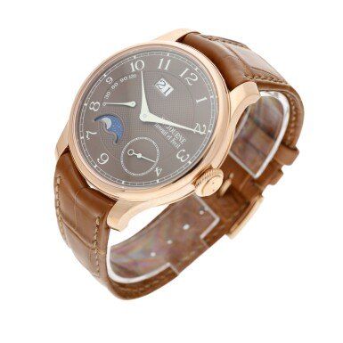 View 3. Thumbnail of Lot 36. Automatique Lune Havana 'AL2' A pink gold automatic wristwatch with date, power reserve and moon phases, Circa 2021.
