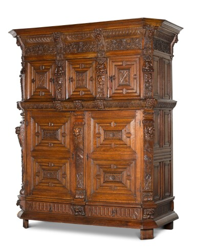 View 2. Thumbnail of Lot 5. A Flemish Renaissance style carved oak cabinet (buffet à cinq portes), probably Antwerp.