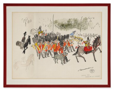 View 2. Thumbnail of Lot 309. Sketch for 'Madeline in London' (The Queen's Guard).