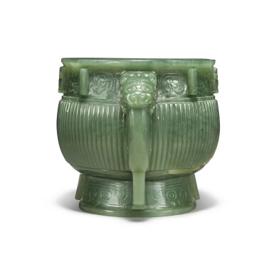 View 4. Thumbnail of Lot 85. An archaistic spinach-green jade gui-form censer, Qing dynasty.