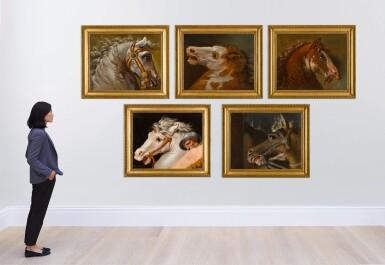 View 2. Thumbnail of Lot 49. AUGUSTE-JEAN-BAPTISTE VINCHON  |  FIVE STUDIES OF HORSES' HEADS, AFTER RAPHAEL'S FRESCOES IN THE STANZE VATICANE.