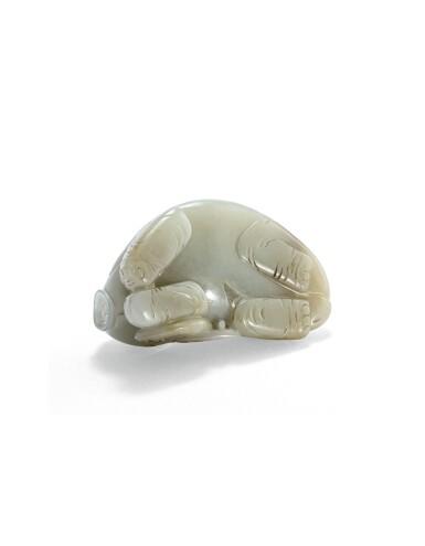 View 2. Thumbnail of Lot 214. Statuette d'éléphant en jade céladon XXE siècle | 二十世紀 青白玉臥象擺件 | A celadon jade recumbent elephant, 20th century .