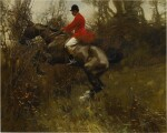 SIR ALFRED JAMES MUNNINGS, P.R.A., R.W.S. | A HUNTSMAN TAKING A DITCH