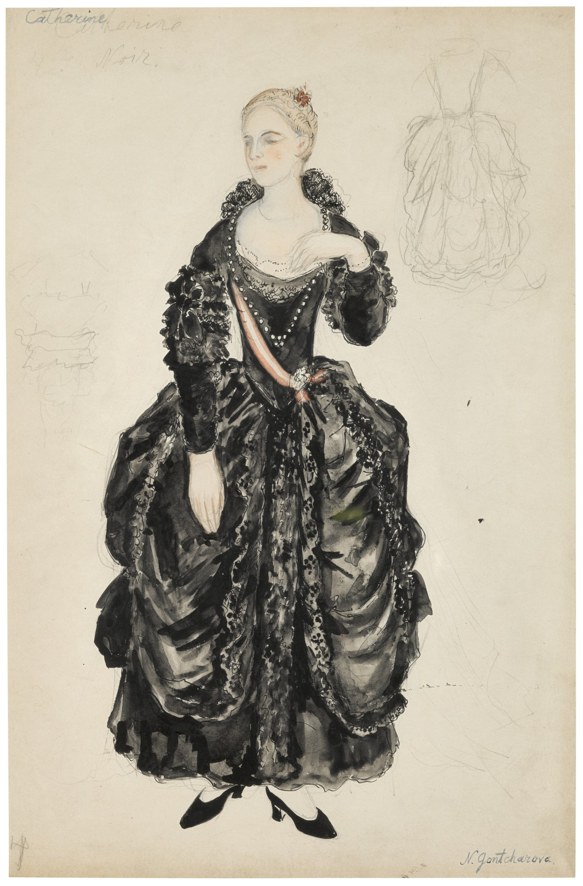 View full screen - View 1 of Lot 96. Costume Design for Catherine in La Petite Catherine.