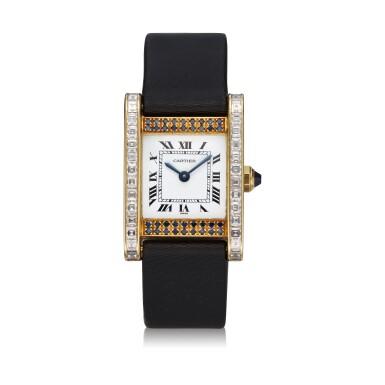 View 1. Thumbnail of Lot 305. A yellow gold, diamond and sapphire-set rectangular wristwatch, Circa 1985.