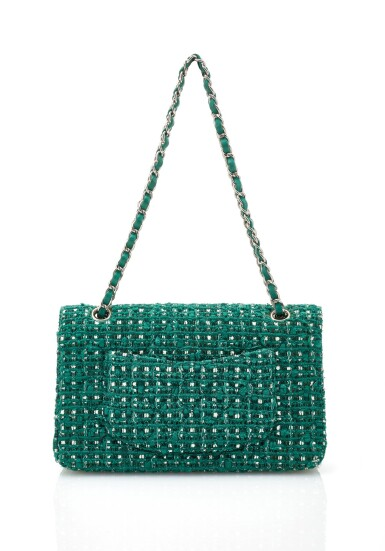View 3. Thumbnail of Lot 85. GREEN AND WHITE TWEED JACKET AND MATCHING TWEED AND LEATHER CLASSIC SHOULDER BAG, CHANEL.