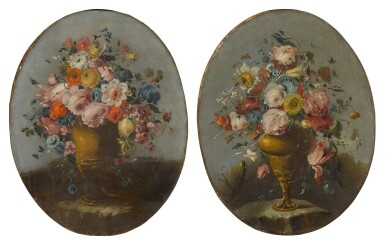 View 1. Thumbnail of Lot 648. A pair of still lifes of roses, anemones, and other flowers in bronze urns, resting on stone ledges.
