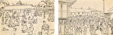 View 1. Thumbnail of Lot 35. EDWARD BAWDEN, R.A. | MORRIS DANCING AT THAXTED; VILLAGE FETE.