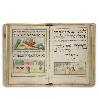 View 1. Thumbnail of Lot 178. A RICHLY ILLUSTRATED MINIATURE BOOK OF PRAYERS, SEDER BIRKAT HA-MAZON U-BIRKHOT HA-NEHENIN (GRACE AFTER MEALS AND OCCASIONAL BLESSINGS), WRITTEN AND ILLUSTRATED BY NATHAN BEN SAMSON OF MESERITCH (MORAVIA), 1728.