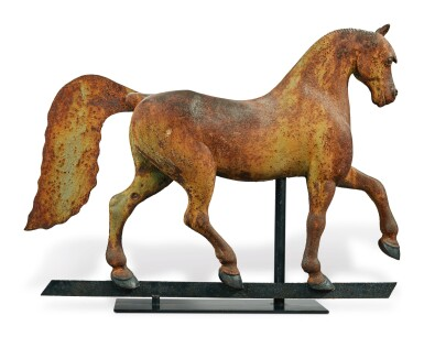 View 2. Thumbnail of Lot 1429.  VERY FINE FULL-BODIED CAST-IRON FORMAL HORSE WEATHERVANE, CIRCA 1890.