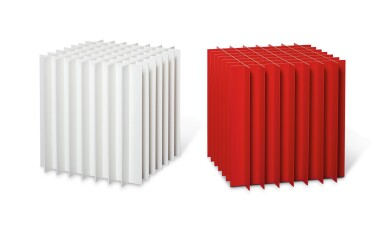 LIAM GILLICK   GRID: TRAFFIC RED; AND ALLOCATED TABLE: PURE WHITE (2 WORKS)