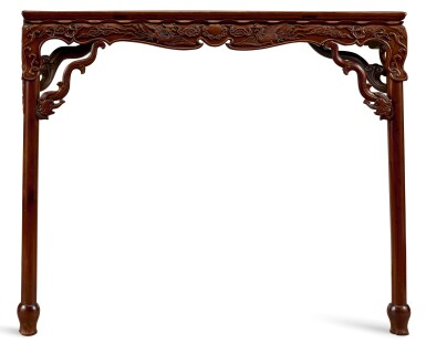 View 3. Thumbnail of Lot 99. AN IMPORTANT AND VERY RARE HUANGHUALI TABLE, BANZHUO MING DYNASTY, 16TH– 17TH CENTURY | 明十六至十七世紀 黃花梨雕龍鳳花鳥紋束腰矮桌展腿式半桌.