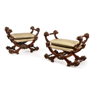 A PAIR OF FLORENTINE RENAISSANCE REVIVAL CARVED WALNUT X-FRAME STOOLS, MID-19TH CENTURY