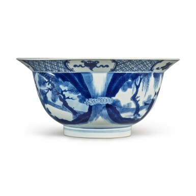 View 2. Thumbnail of Lot 34. A blue and white 'figural' bowl, Qing dynasty, Kangxi period.