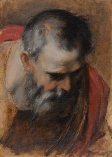 View 1. Thumbnail of Lot 115. Saint Joseph, a head study for the Visitation Altarpiece        .