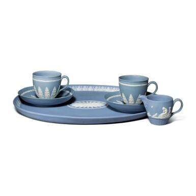 AN ASSEMBLED WEDGWOOD PALE BLUE AND WHITE JASPERWARE PART COFFEE SERVICE CIRCA 1790
