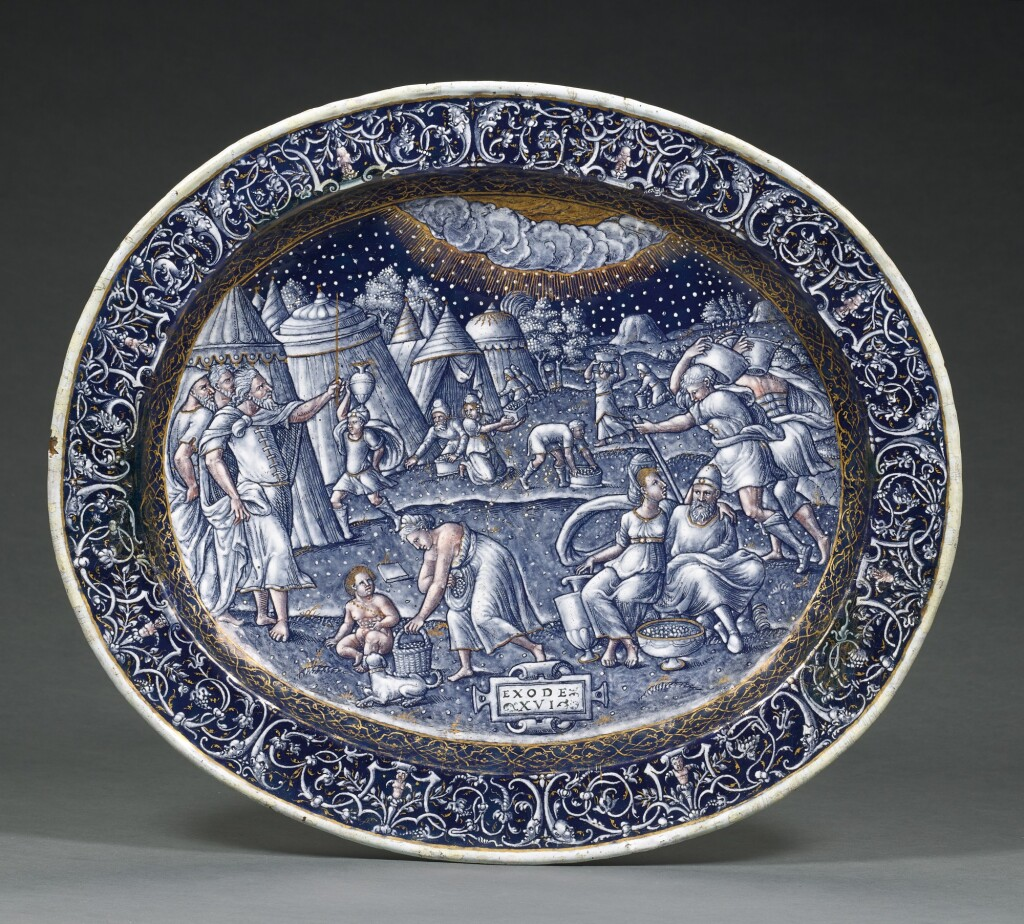 ATTRIBUTED TO PIERRE REYMOND | OVAL DISH WITH THE MANNA FROM HEAVEN