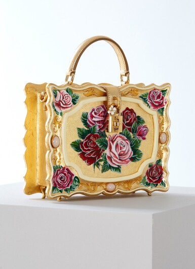 View 2. Thumbnail of Lot 43. Enamel Flower Embellished Limited Edition Box Bag in Golden Hand-Painted Wood with Vintage Plated Brass Hardware, Spring/Summer 2021.