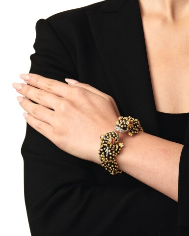 David Webb | Enamel, Ruby and Diamond Bangle-Bracelet
