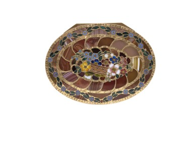 View 7. Thumbnail of Lot 12. A very rare gold and pietra dura 'Steinkabinett', complete with secret compartment and explanatory booklet, Christian Gottlieb Stiehl, Dresden, circa 1770.