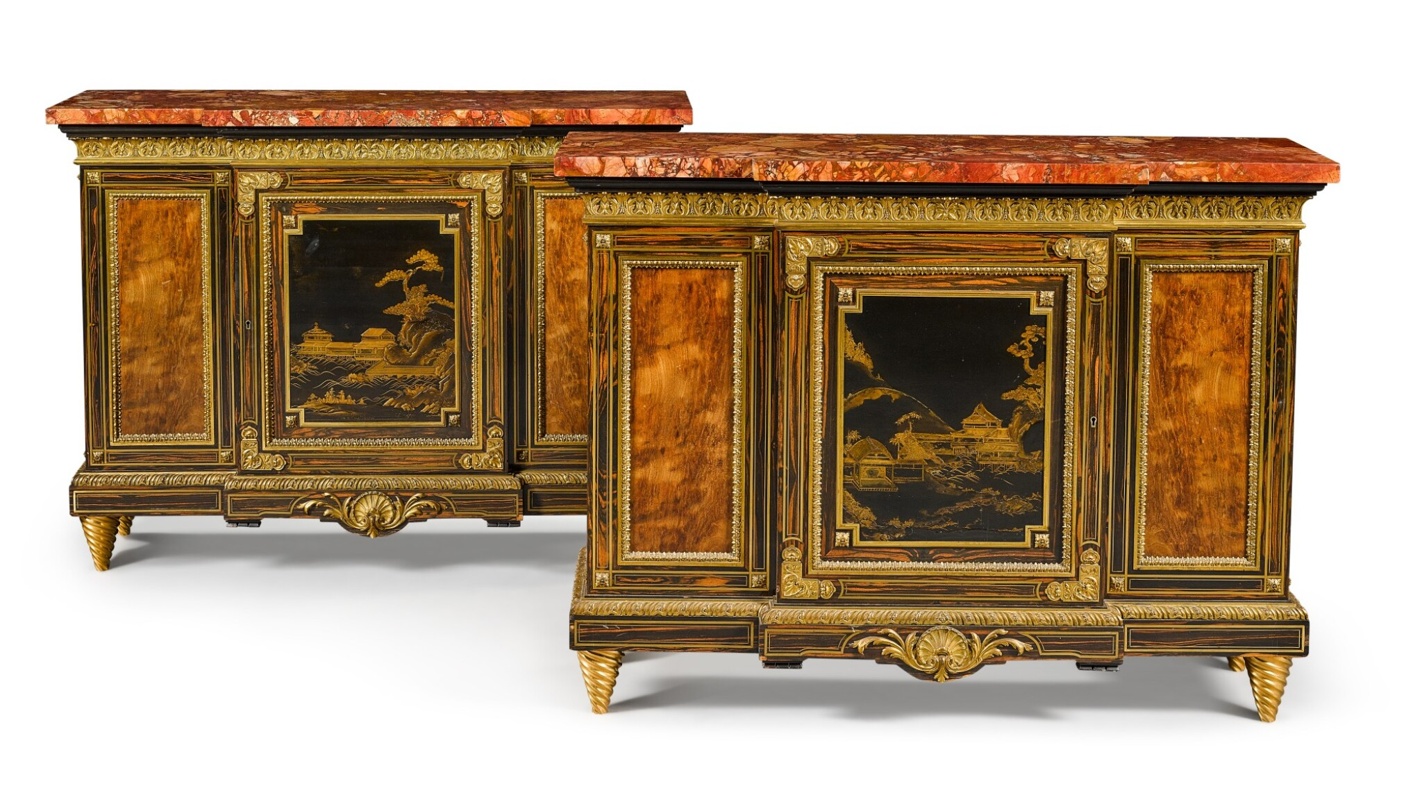 View full screen - View 1 of Lot 179. A pair of Louis XIV style gilt-bronze mounted calamander and hardwood breakfront side cabinets, English, last quarter 19th century.