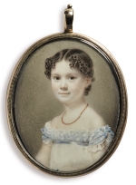 ATTRIBUTED TO GEORGE PATTEN | MINIATURE PORTRAIT OF A YOUNG GIRL IN A WHITE DRESS