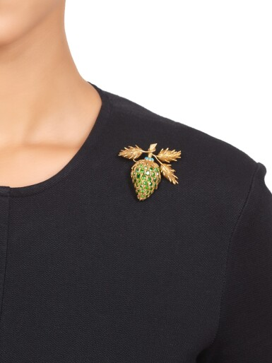 View 3. Thumbnail of Lot 482. Schlumberger for Tiffany & Co. | Gold, Demantoid Garnet and Turquoise Clip-Brooch.