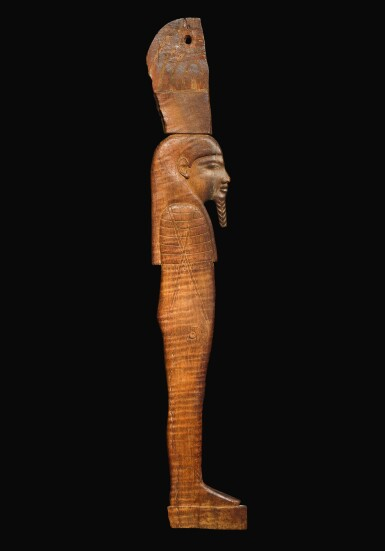 AN EGYPTIAN WOOD LID OF A GERMINATING OSIRIS BED, 18TH DYNASTY, PROBABLY PERIOD OF HOREMHAB, 1319-1292 B.C.