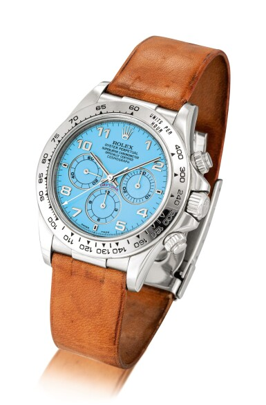 View 2. Thumbnail of Lot 2154. Rolex | Cosmograph Daytona, Reference 16516, A historically important and possibly unique platinum chronograph wristwatch with turquoise hardstone lacquer dial, Circa 1998 | 勞力士 | Cosmograph Daytona 型號16516  Cosmograph Daytona 型號16516  極具歷史價值及獨特鉑金計時腕錶,備綠松石漆製錶盤,約1998年製.