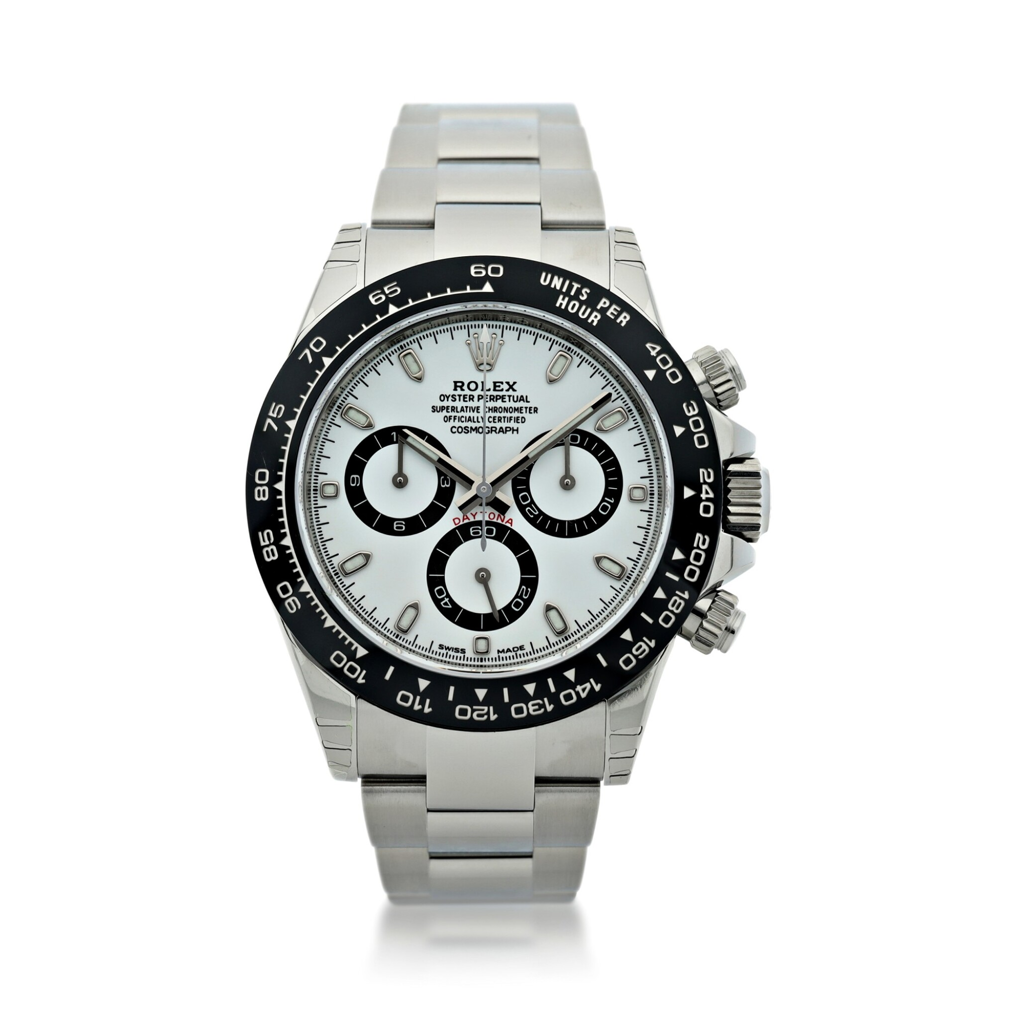 View full screen - View 1 of Lot 16.  ROLEX | REFERENCE 116500 DAYTONA   A STAINLESS STEEL AUTOMATIC CHRONOGRAPH WRISTWATCH WITH BRACELET, CIRCA 2017 .
