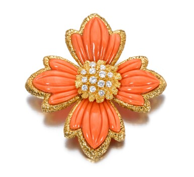 View 1. Thumbnail of Lot 621. Van Cleef & Arpels | Coral and diamond brooch/pendant, 1970s | 梵克雅寶 | 珊瑚配鑽石別針/吊墜,1970年代.