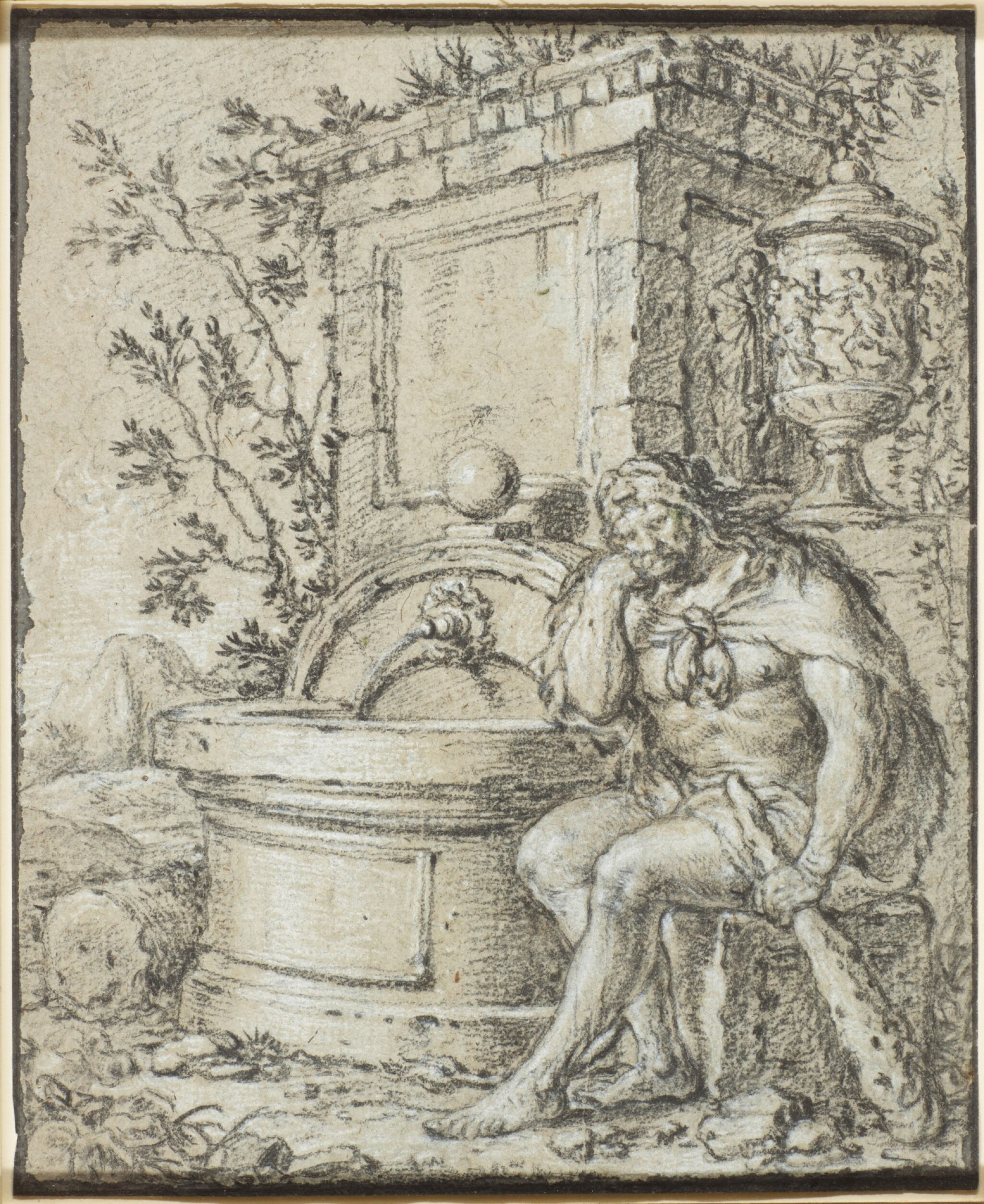 View full screen - View 1 of Lot 544. FRENCH SCHOOL, CIRCA 1700 | Hercules resting by a fountain.