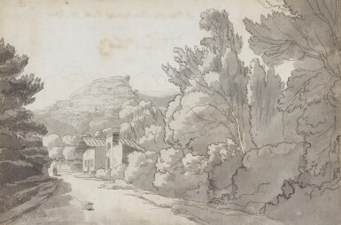 FRANCIS TOWNE | A view of a Hermitage at Rocca di Papa, near Lake Albano,Italy
