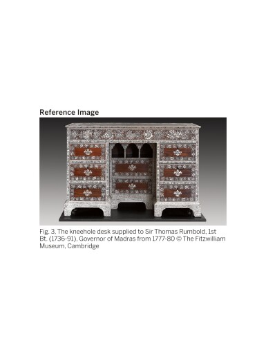 View 12. Thumbnail of Lot 175. AN ANGLO-INDIAN IVORY INLAID ROSEWOOD WRITING OR DRESSING TABLE, VIZAGAPATAM, MID-18TH CENTURY.