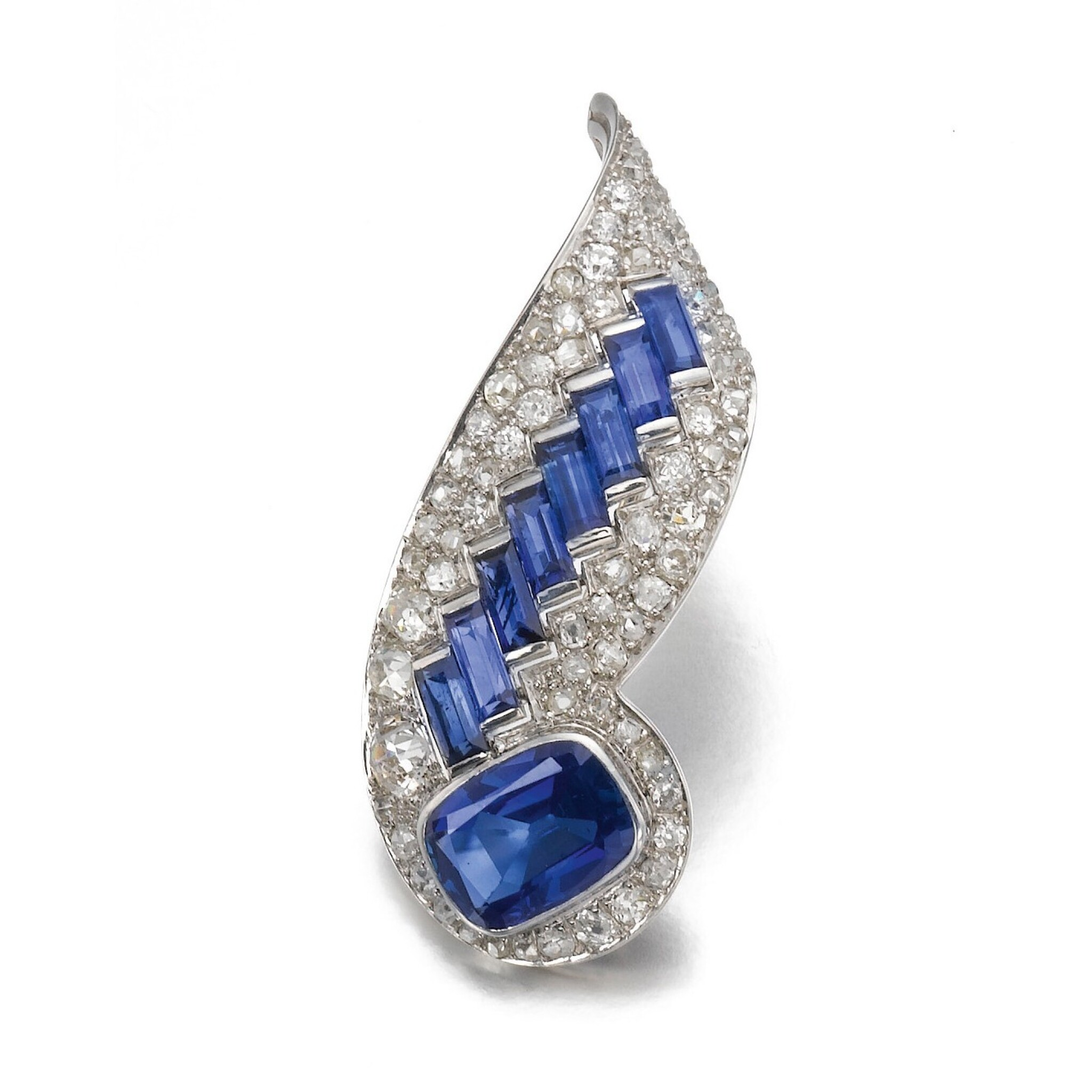 View full screen - View 1 of Lot 317. RENÉ BOIVIN   SAPPHIRE AND DIAMOND BROOCH, 1939.