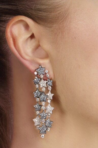 View 5. Thumbnail of Lot 105. Pair of aquamarine and diamond pendent ear clips, 'Falling Stars', Michele della Valle.